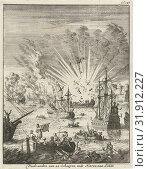 Купить «Sea Battle between Dutch and Spanish ships off the coast of Goa India, 1638, Jan Luyken, 1684», фото № 31912227, снято 3 декабря 2014 г. (c) age Fotostock / Фотобанк Лори
