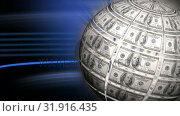 Купить «Digital composite of World dollar globe», видеоролик № 31916435, снято 4 февраля 2019 г. (c) Wavebreak Media / Фотобанк Лори