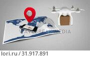 Купить «Drone delivery service», видеоролик № 31917891, снято 5 марта 2019 г. (c) Wavebreak Media / Фотобанк Лори
