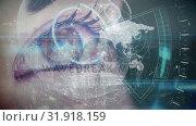 Купить «Animation of brown eye open with data charts and analyzes on it», видеоролик № 31918159, снято 4 февраля 2019 г. (c) Wavebreak Media / Фотобанк Лори