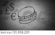 Euro coins currency. Стоковое видео, агентство Wavebreak Media / Фотобанк Лори