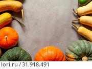 Купить «Happy autumn time - colorful pumpkins flat lay», фото № 31918491, снято 11 октября 2018 г. (c) Pavel Biryukov / Фотобанк Лори
