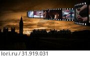 Купить «Film strip with videos and photographs», видеоролик № 31919031, снято 13 февраля 2019 г. (c) Wavebreak Media / Фотобанк Лори