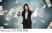 Купить «Woman holding two bags with money», видеоролик № 31919799, снято 5 марта 2019 г. (c) Wavebreak Media / Фотобанк Лори