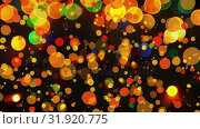 Купить «Colorful bokeh effect against black background», видеоролик № 31920775, снято 5 марта 2019 г. (c) Wavebreak Media / Фотобанк Лори