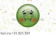 Купить «Nauseated face emoji », видеоролик № 31921591, снято 5 марта 2019 г. (c) Wavebreak Media / Фотобанк Лори
