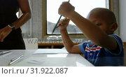 Купить «Boy drawing sketch on paper in a comfortable home 4k», видеоролик № 31922087, снято 6 июня 2018 г. (c) Wavebreak Media / Фотобанк Лори