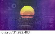 Купить «Animation of sunset drawing against technological board», видеоролик № 31922483, снято 5 марта 2019 г. (c) Wavebreak Media / Фотобанк Лори