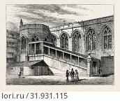 CROSBY HALL IN 1790, London, UK, 19th century engraving (2014 год). Редакционное фото, фотограф Artokoloro / age Fotostock / Фотобанк Лори