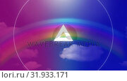 Купить «Blinking triangle against rainbow and blue sky», видеоролик № 31933171, снято 5 марта 2019 г. (c) Wavebreak Media / Фотобанк Лори