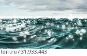 Waving ocean with bokeh light effects. Стоковое видео, агентство Wavebreak Media / Фотобанк Лори