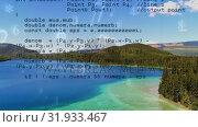Купить «Lake with still waters surrounded by green mountains», видеоролик № 31933467, снято 26 марта 2019 г. (c) Wavebreak Media / Фотобанк Лори