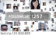 Купить «Follower count and profile icons», видеоролик № 31933859, снято 26 марта 2019 г. (c) Wavebreak Media / Фотобанк Лори