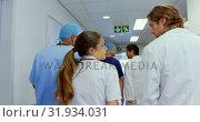 Купить «Medical teams walking in the corridor at hospital 4k», видеоролик № 31934031, снято 26 января 2019 г. (c) Wavebreak Media / Фотобанк Лори