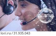Купить «Call centre agent talking on her headset», видеоролик № 31935043, снято 5 апреля 2019 г. (c) Wavebreak Media / Фотобанк Лори
