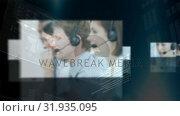 Купить «Call centre agents and their profiles», видеоролик № 31935095, снято 5 апреля 2019 г. (c) Wavebreak Media / Фотобанк Лори