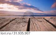 Купить «Wooden deck and the horizon», видеоролик № 31935907, снято 27 марта 2019 г. (c) Wavebreak Media / Фотобанк Лори