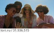 Купить «Group friends taking selfie with phone 4k», видеоролик № 31936515, снято 9 января 2019 г. (c) Wavebreak Media / Фотобанк Лори