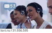 Купить «Call centre agents taking messages», видеоролик № 31936595, снято 17 апреля 2019 г. (c) Wavebreak Media / Фотобанк Лори