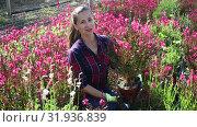 Купить «Successful skilled florist woman working with potted flowers in greenhouse», видеоролик № 31936839, снято 3 июня 2019 г. (c) Яков Филимонов / Фотобанк Лори