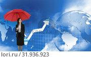 Купить «Woman holding an umbrella beside a globe and moving arrow», видеоролик № 31936923, снято 5 апреля 2019 г. (c) Wavebreak Media / Фотобанк Лори