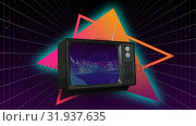 Купить «Television with glowing triangles », видеоролик № 31937635, снято 25 апреля 2019 г. (c) Wavebreak Media / Фотобанк Лори