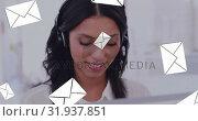 Купить «Cal centre agent happily speaking to a client 4k», видеоролик № 31937851, снято 17 апреля 2019 г. (c) Wavebreak Media / Фотобанк Лори
