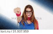 Купить «Woman wearing a superhero costume», видеоролик № 31937959, снято 25 апреля 2019 г. (c) Wavebreak Media / Фотобанк Лори