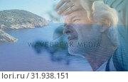 Купить «Old man and a view of the ocean », видеоролик № 31938151, снято 8 мая 2019 г. (c) Wavebreak Media / Фотобанк Лори