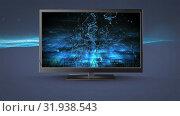 Купить «Flat screen television with connected lines», видеоролик № 31938543, снято 25 апреля 2019 г. (c) Wavebreak Media / Фотобанк Лори