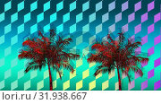 Купить «Colorful palm tree and diamond pattern», видеоролик № 31938667, снято 8 мая 2019 г. (c) Wavebreak Media / Фотобанк Лори
