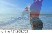 Купить «Woman doing yoga at the beach», видеоролик № 31938703, снято 8 мая 2019 г. (c) Wavebreak Media / Фотобанк Лори