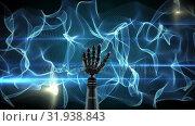 Купить «Robot hand on an abstract background», видеоролик № 31938843, снято 24 мая 2019 г. (c) Wavebreak Media / Фотобанк Лори