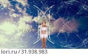 Купить «Woman doing yoga in the sky», видеоролик № 31938983, снято 25 апреля 2019 г. (c) Wavebreak Media / Фотобанк Лори