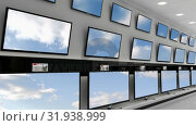 Купить «Flat screen television on display», видеоролик № 31938999, снято 25 апреля 2019 г. (c) Wavebreak Media / Фотобанк Лори