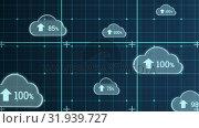 Купить «Upload in the digital cloud», видеоролик № 31939727, снято 14 мая 2019 г. (c) Wavebreak Media / Фотобанк Лори