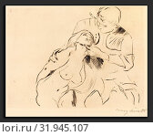 Lovis Corinth, The Reconciliation (Versöhnung), German, 1858 - 1925, 1914, drypoint in black on laid paper. Редакционное фото, фотограф Artokoloro / age Fotostock / Фотобанк Лори