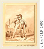 Купить «Victor Adam, French (1801-1866), Two Grenadiers, brush and brown wash with pen and brown ink over graphite on wove paper laid down on album sheet», фото № 31945603, снято 6 августа 2014 г. (c) age Fotostock / Фотобанк Лори
