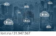 Купить «Upload in the digital cloud», видеоролик № 31947567, снято 14 мая 2019 г. (c) Wavebreak Media / Фотобанк Лори