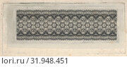 Banknote motif: band of lace-like lathe work ornament, ca. 1824–42, Engraving on chine collé, plate: 5 7/8 x 2 7/16 in. (15 x 6.2 cm), Prints, Associated with Cyrus Durand (American, 1787–1868) (2017 год). Редакционное фото, фотограф © Copyright Artokoloro Quint Lox Limited / age Fotostock / Фотобанк Лори