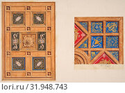 Two designs for paneled ceiling with painted decoration, 19th century, pen and ink, watercolor, and gold paint on two sheets of tracing paper, mounted... (2017 год). Редакционное фото, фотограф © Copyright Artokoloro Quint Lox Limited / age Fotostock / Фотобанк Лори