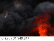 Купить «Flames strong red industrial fire, dramatic clouds of black smoke covered sky», фото № 31949247, снято 18 апреля 2019 г. (c) А. А. Пирагис / Фотобанк Лори