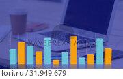 Купить «Graphs and statistics moving on grid with laptop computer in the background», видеоролик № 31949679, снято 13 июня 2019 г. (c) Wavebreak Media / Фотобанк Лори