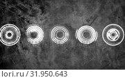 Купить «Animation of spinning concentric circles», видеоролик № 31950643, снято 24 мая 2019 г. (c) Wavebreak Media / Фотобанк Лори