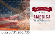Купить «Woman holding American flag with constitution and independent banner», видеоролик № 31950735, снято 24 мая 2019 г. (c) Wavebreak Media / Фотобанк Лори