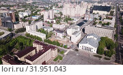 Купить «Panoramic aerial view of city center of Voronezh with Lenin Square, Russia», видеоролик № 31951043, снято 5 мая 2019 г. (c) Яков Филимонов / Фотобанк Лори