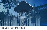 Купить «Cloud absorbing industrial data», видеоролик № 31951383, снято 13 июня 2019 г. (c) Wavebreak Media / Фотобанк Лори