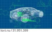 Купить «3D model of a car with molecular structures», видеоролик № 31951399, снято 13 июня 2019 г. (c) Wavebreak Media / Фотобанк Лори