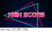 Retro High Score text glitching over blue and red triangles 4k. Стоковое видео, агентство Wavebreak Media / Фотобанк Лори