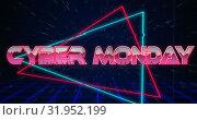 Купить «Retro Cyber Monday text glitching over blue and red triangles 4k», видеоролик № 31952199, снято 14 июня 2019 г. (c) Wavebreak Media / Фотобанк Лори